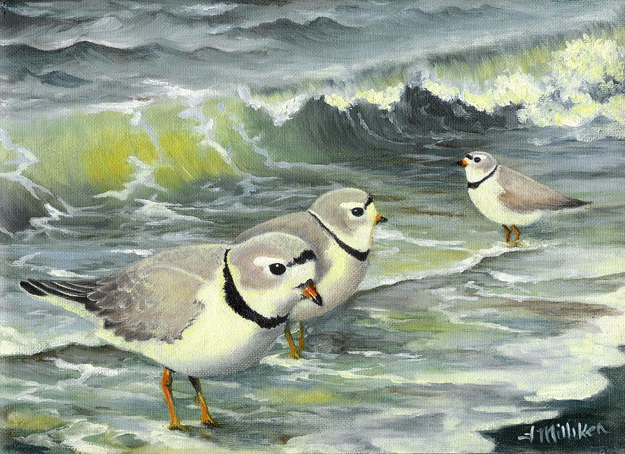 Piping Plovers Painting - Piping Plovers At The Shore by Tara Milliken