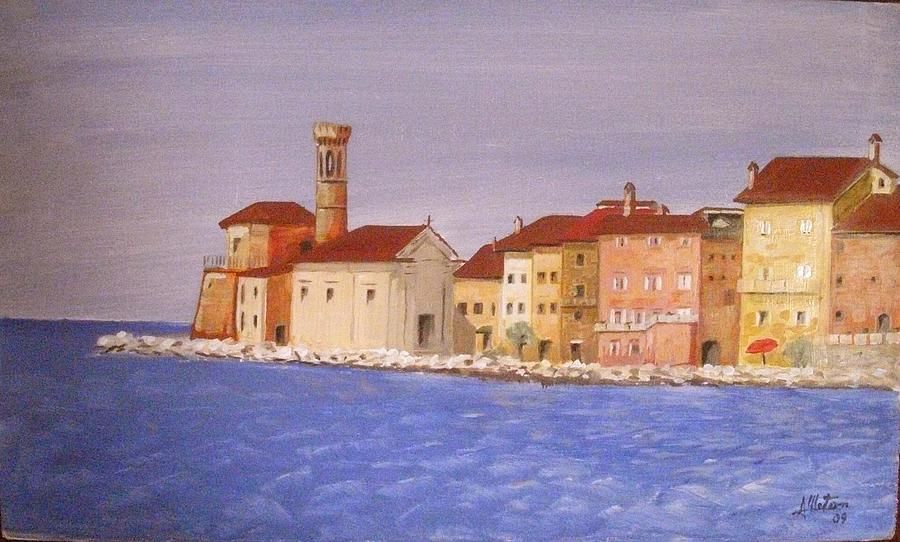 Lighthouse Painting - Piran The Lighthouse by Anthony Meton