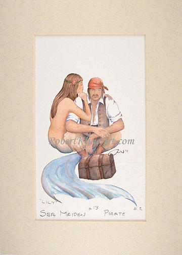 Pirate Painting - Pirate And Sea Maiden 13 Lily by Robert Kline