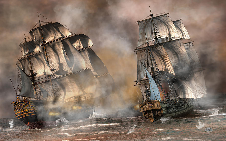 Pirate Battle Digital Art by Daniel Eskridge
