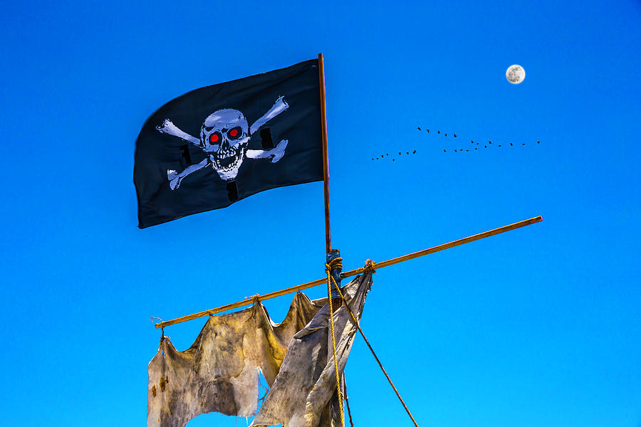 Flags Photograph - Pirate Flag And Moon by Garry Gay