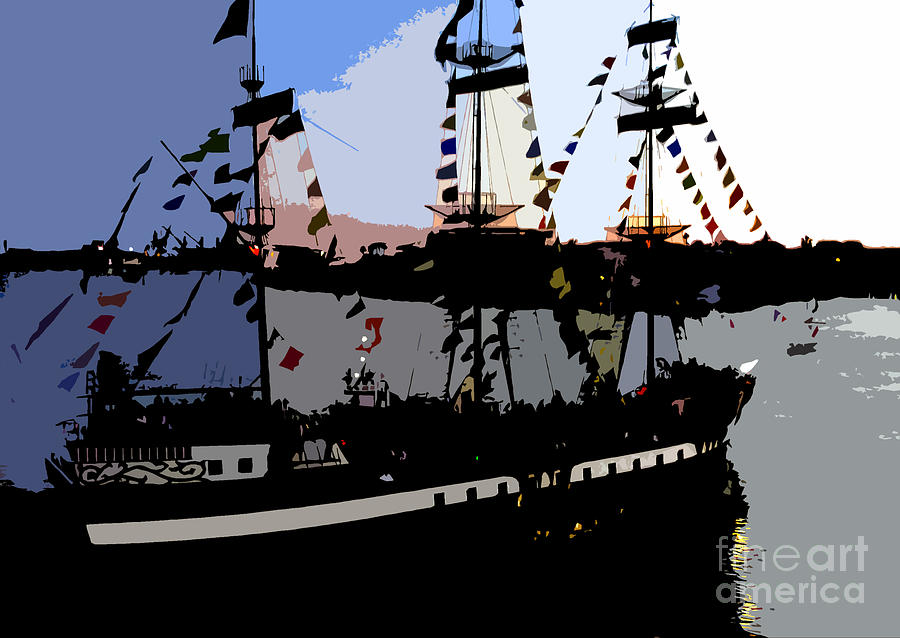 Pirate Painting - Pirate Ship by David Lee Thompson