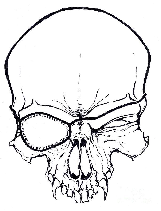 Pirate Skull Drawing by Daniel Brunner