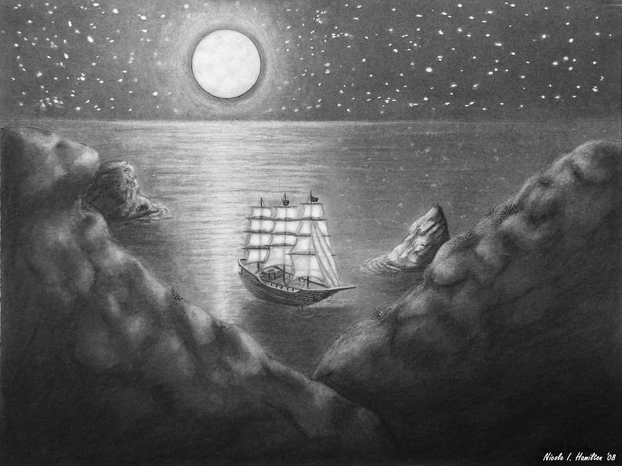 Ship Drawing - Pirates Cove by Nicole I Hamilton