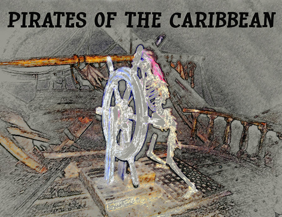 Artwork Painting - Pirates Skeleton by David Lee Thompson