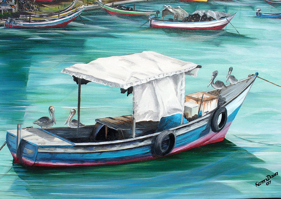 Pirogue Fishing Boat  Painting by Karin  Dawn Kelshall- Best