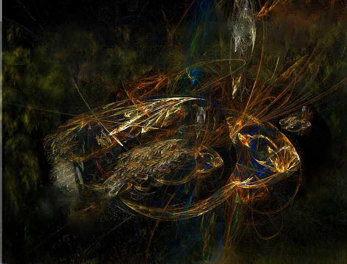 Abstract Fish Mixed Media - Piscus Inter  Piscus by Sidney Orlovitz