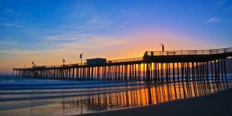 Nature Photograph - Pismo Beach and Pier Sunset by Zayne Diamond Photographic