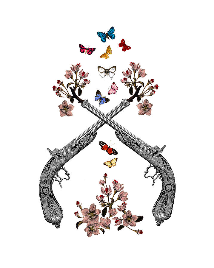 Gun Digital Art - Pistols Wit Flowers And Butterflies by Madame Memento