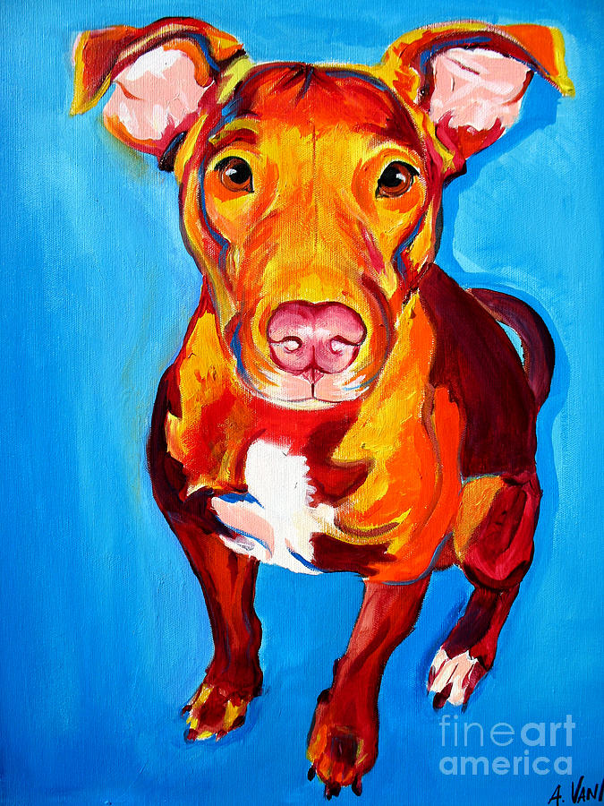 Dog Painting - Pit Bull - Chino by Alicia VanNoy Call