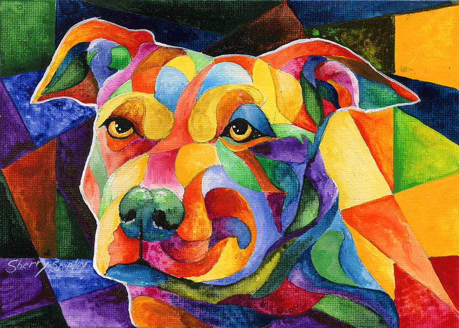 Dog Painting - Pit Bull 1 by Sherry Shipley