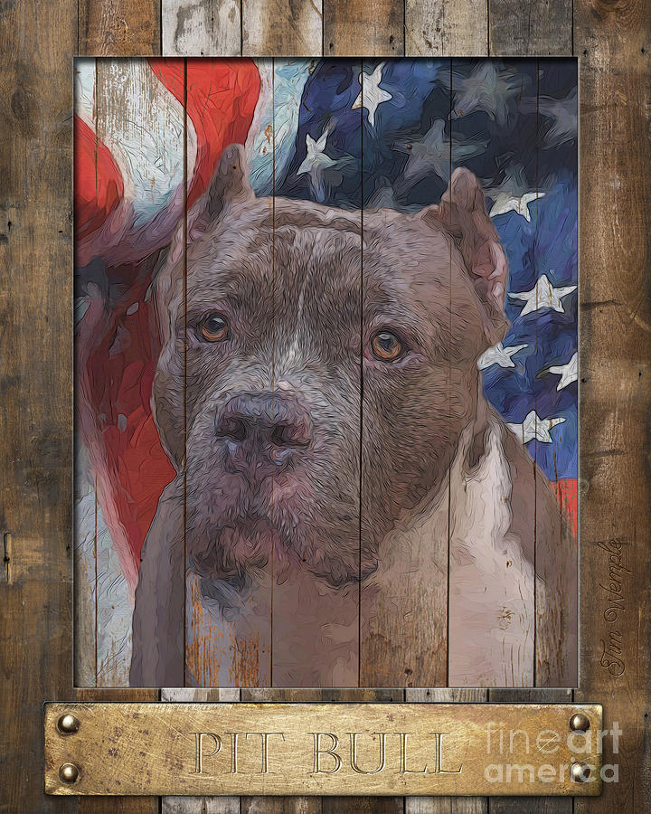Pit Bull Digital Art - Pit Bull Flag Poster by Tim Wemple