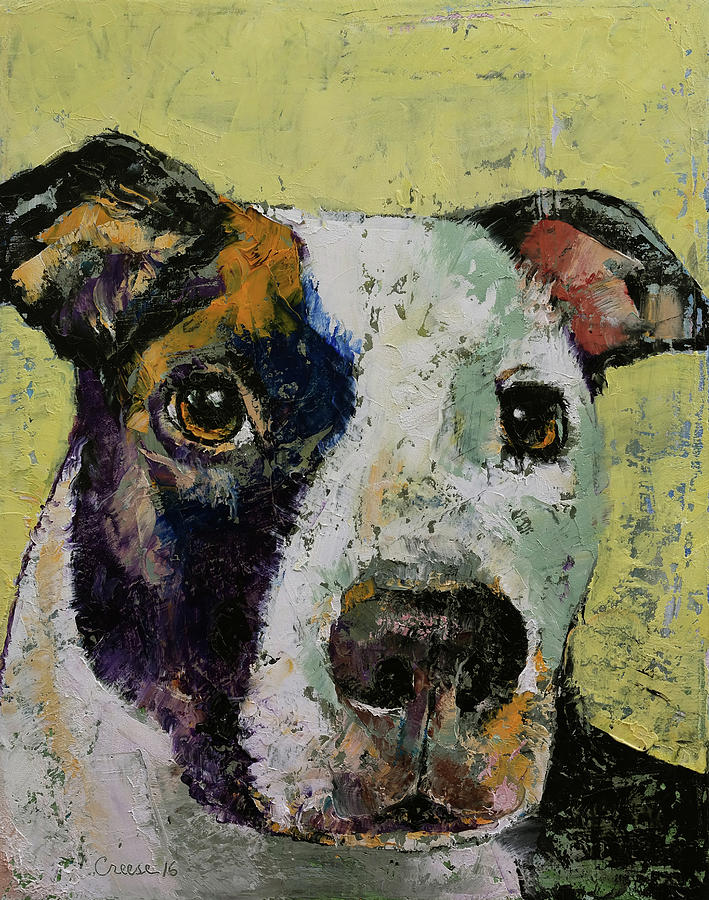 Dog Painting - Pit Bull Portrait by Michael Creese