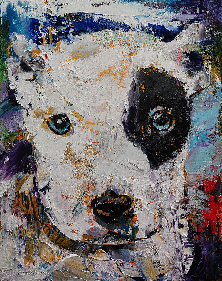 Dog Painting - Pit Bull Puppy by Michael Creese