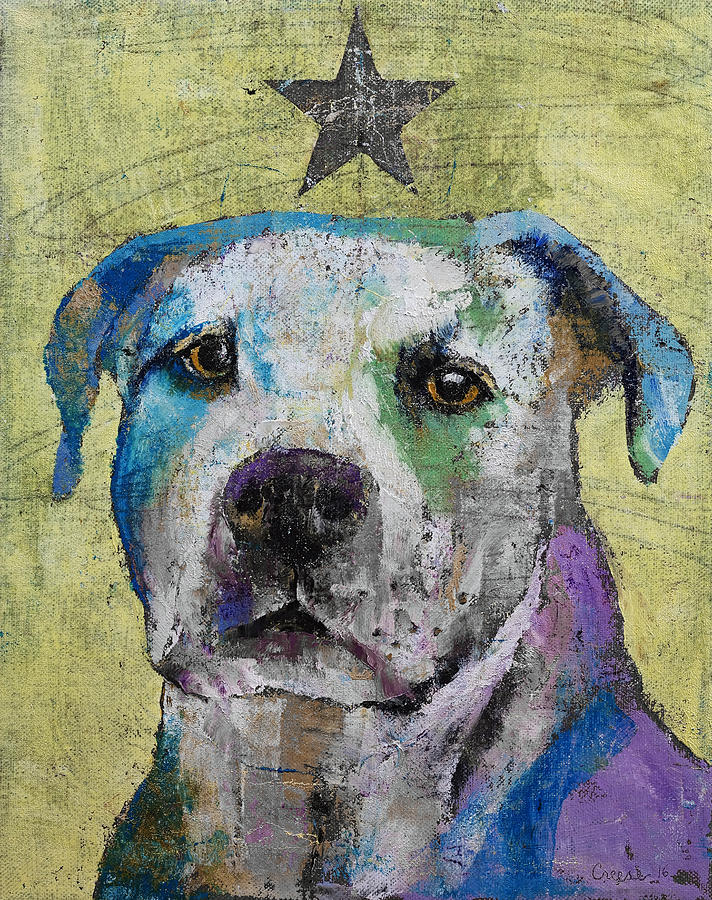 Dog Painting - Pit Bull Terrier by Michael Creese