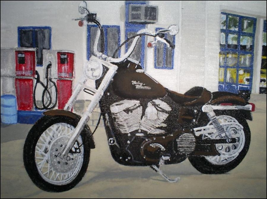 Motorcycle Painting - Pit Stop by Brian  Williams