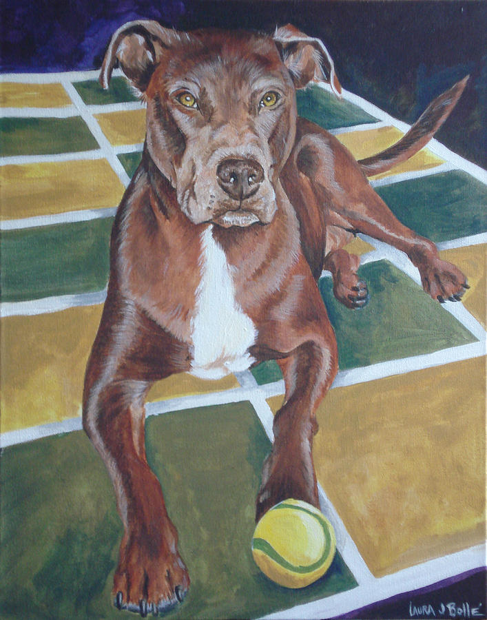 Pitti Painting - Pit With Ball On Rug by Laura Bolle
