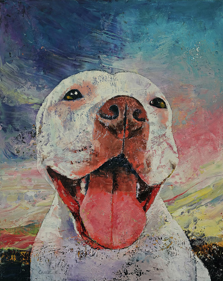 Dog Painting - Pitbull by Michael Creese