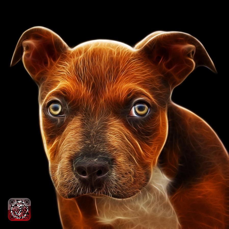Pitbull Painting - Pitbull Puppy Pop Art - 7085 Bb by James Ahn