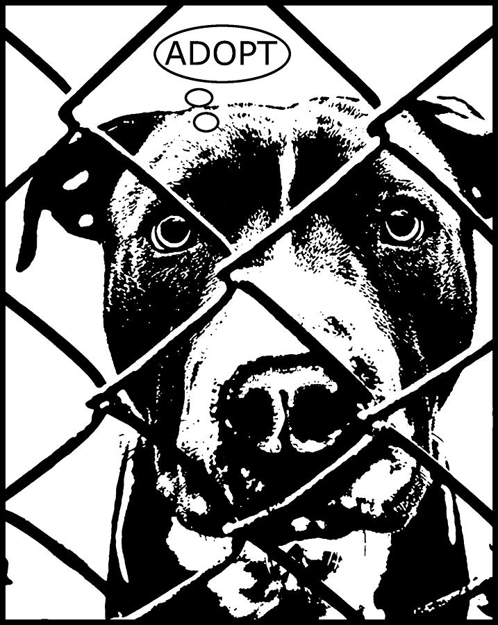 Pit Bull Painting - Pitbull Thinks Adopt by Dean Russo Art