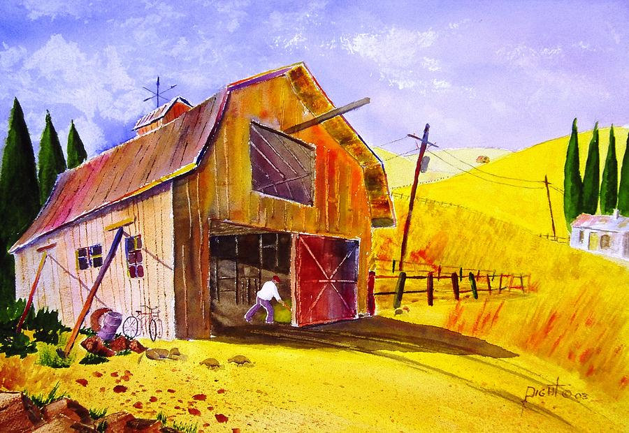 Lanscape Painting - Pitching Hay by Buster Dight