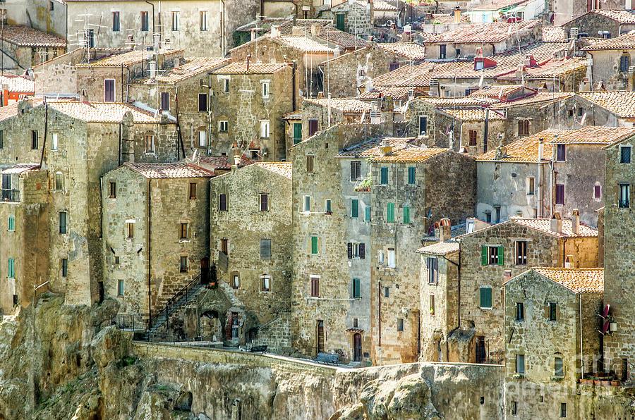 Architecture Photograph - Pitigliano Houses Closeup Grosseto Tuscany by Luca Lorenzelli
