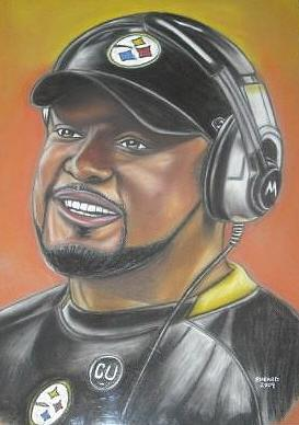 Pittsburg Steelers Coach Pastel by Bernell  Heard