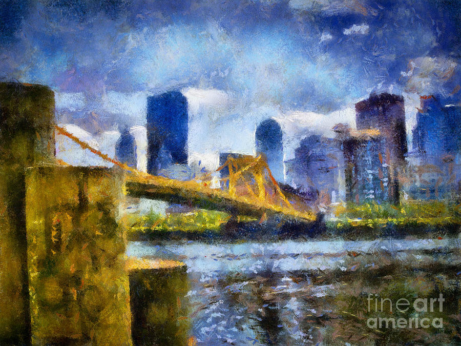 Pittsburgh Digital Art - Pittsburgh North Shore Skyline by Amy Cicconi