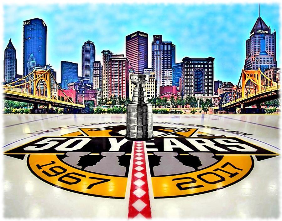 Pittsburgh Digital Art - Pittsburgh Penguins 50th Anniversary by Charles Ott