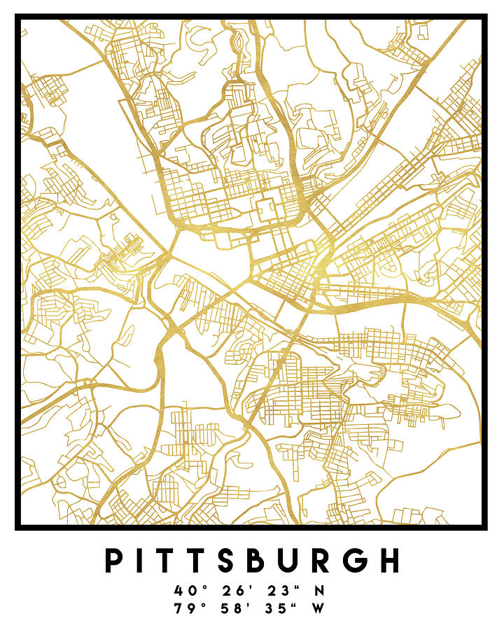 Pittsburgh Pennsylvania City Street Map Art Digital Art by Emiliano on