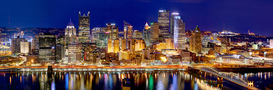 Pittsburgh Skyline At Night Photograph - Pittsburgh Pennsylvania Skyline At Night Panorama by Jon Holiday
