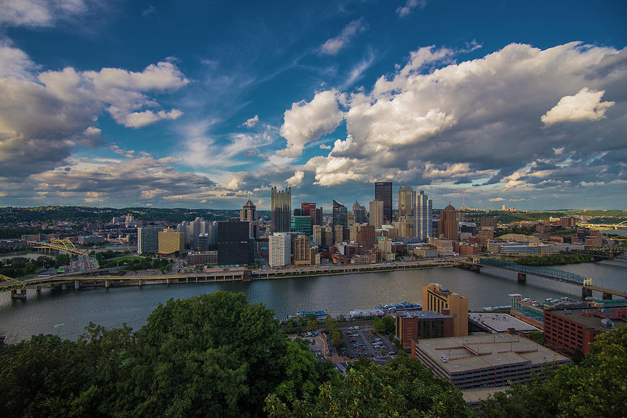Pittsburgh Pennsylvania Skyline Blue by David Haskett II