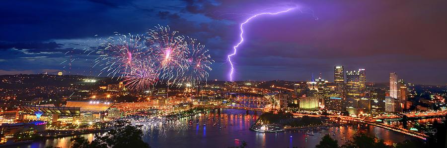 Pittsburgh Pennsylvania Skyline Fireworks at Night Panorama 1 to 3 ratio by Jon Holiday