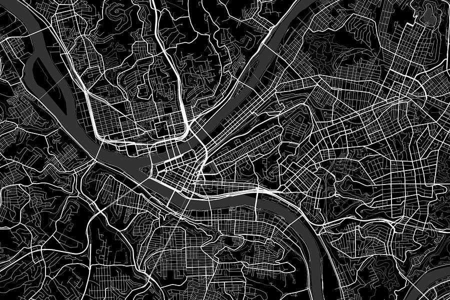 Line Art Usa Map : Pittsburgh pennsylvania usa dark map digital art by jurq studio