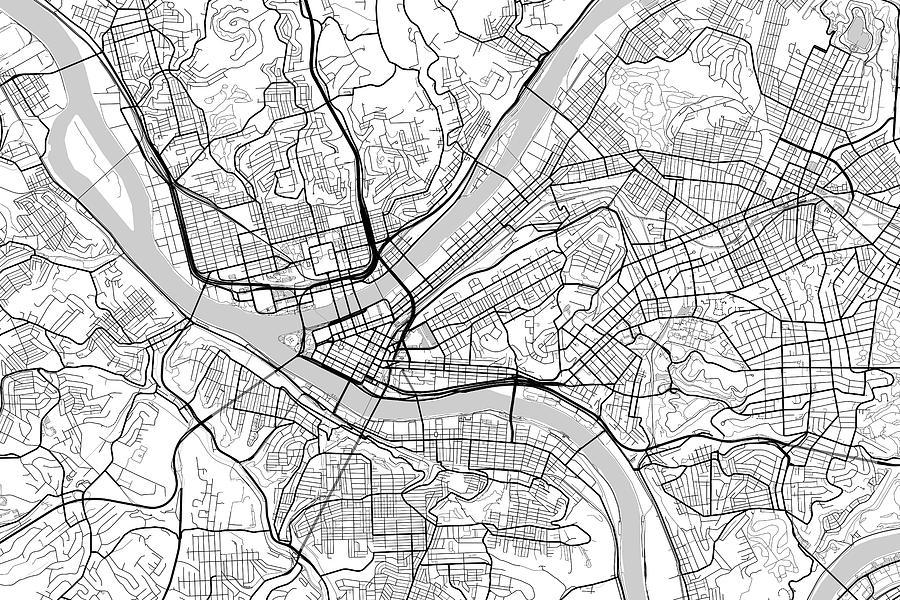 road map digital art pittsburgh pennsylvania usa light map by jurq studio