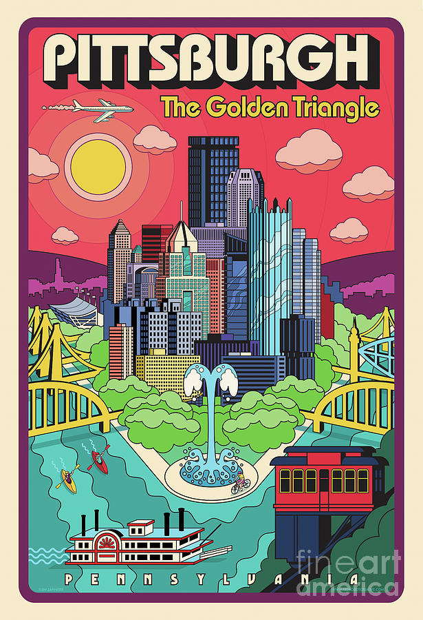 Pittsburgh Digital Art - Pittsburgh Poster - Pop Art - Travel by Jim Zahniser