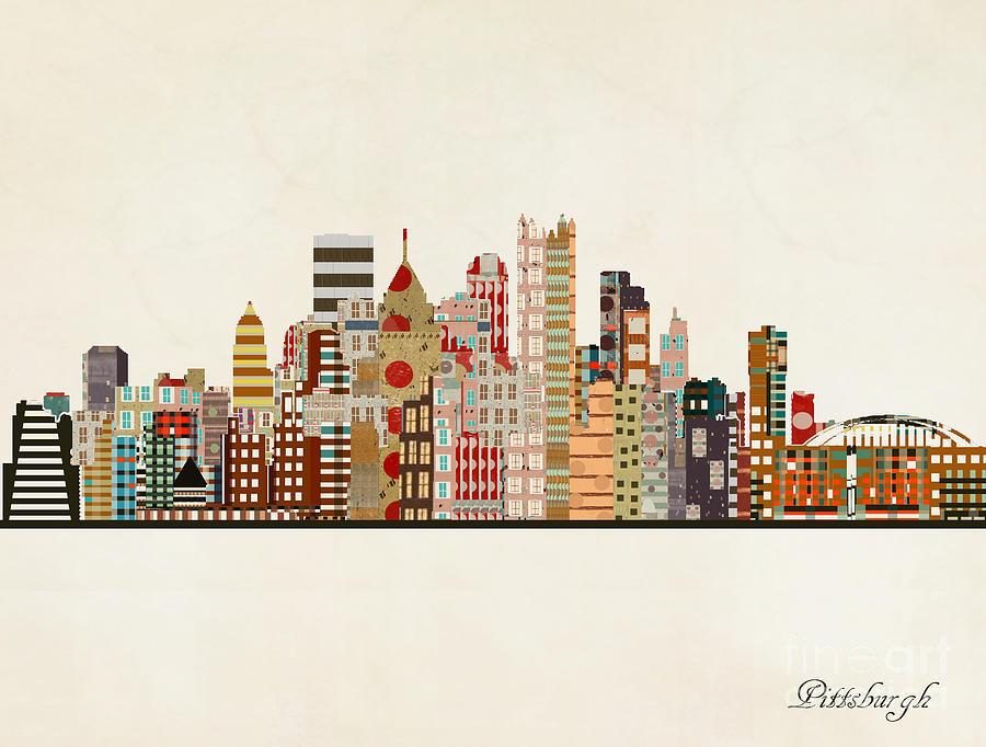 Pittsburgh Painting - Pittsburgh Skyline by Bri Buckley