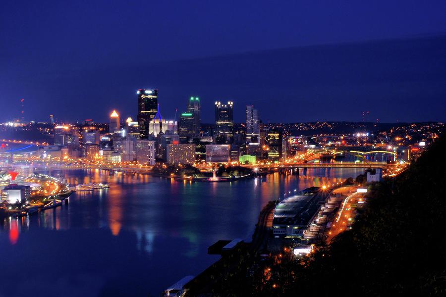 Pittsburgh Skyline Blue Hour Photograph