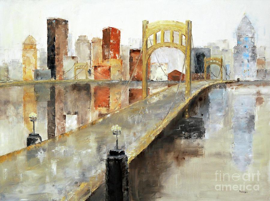 Pittsburgh Painting - Pittsburgh Skyline by Paint Box Studio