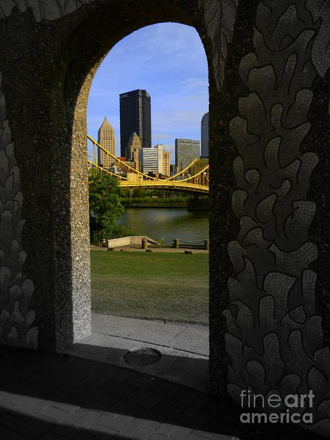Acrylic Prints Photograph - Pittsburgh Skyline, North Shore Arch, Pittsburgh, Pa  by Len-Stanley Yesh