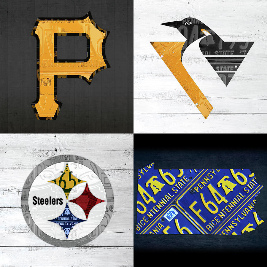 Pittsburgh Mixed Media - Pittsburgh Sports Team Logo Art Plus Pennsylvania Map Pirates Penguins Steelers by Design Turnpike
