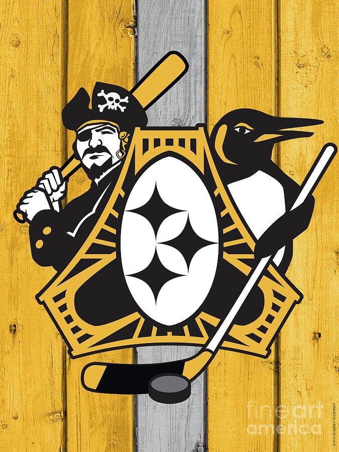 Pittsburgh Digital Art - Pittsburgh Three Rivers Roar Crest by Joe Barsin