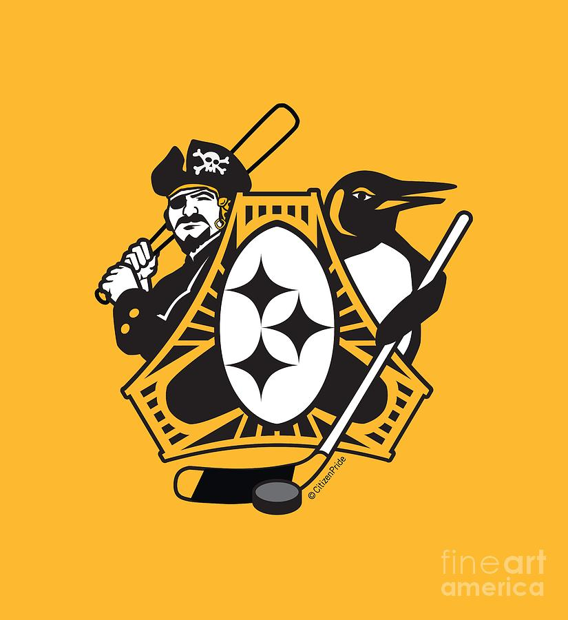 Pittsburgh Digital Art - Pittsburgh-Three Rivers Roar Sports Fan Crest by Joe Barsin