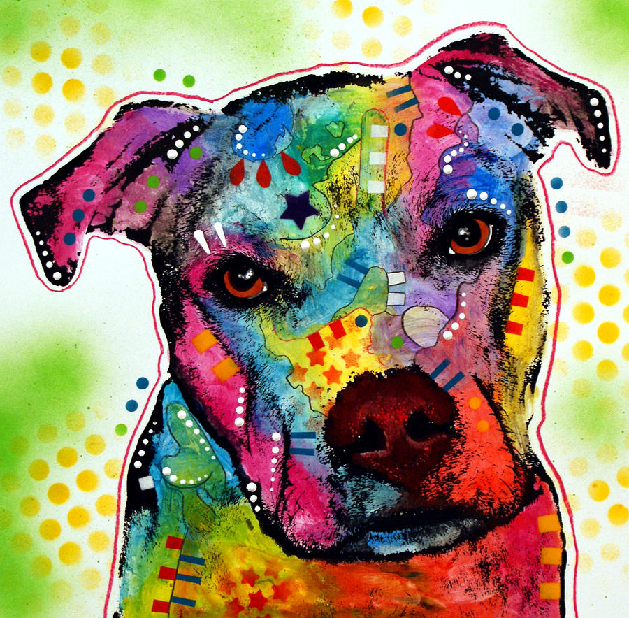 Pit Bull Painting - Pity Pitbull by Dean Russo Art