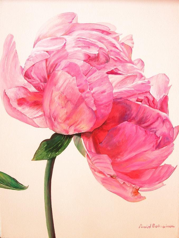 Flower Painting - Pivoine 3 by Muriel Dolemieux