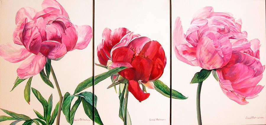 Fleurs Painting - Pivoines by Muriel Dolemieux