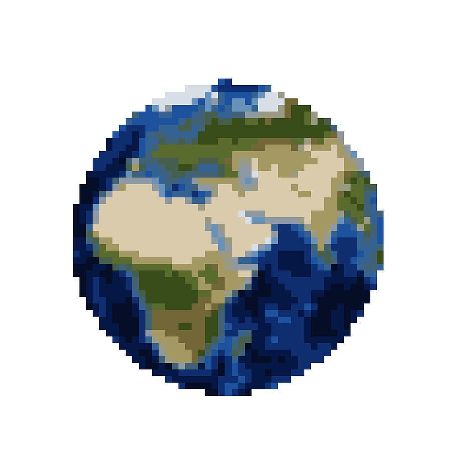 Pixel Earth Digital Art By Martin Capek