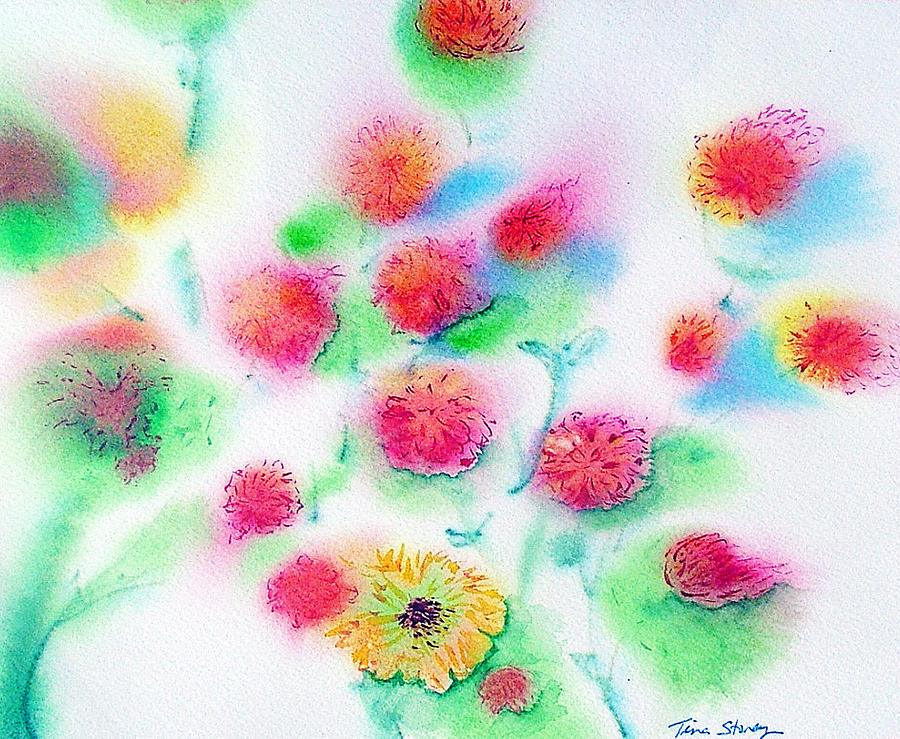 Flowers Painting - Pixie Flowers by Tina Storey