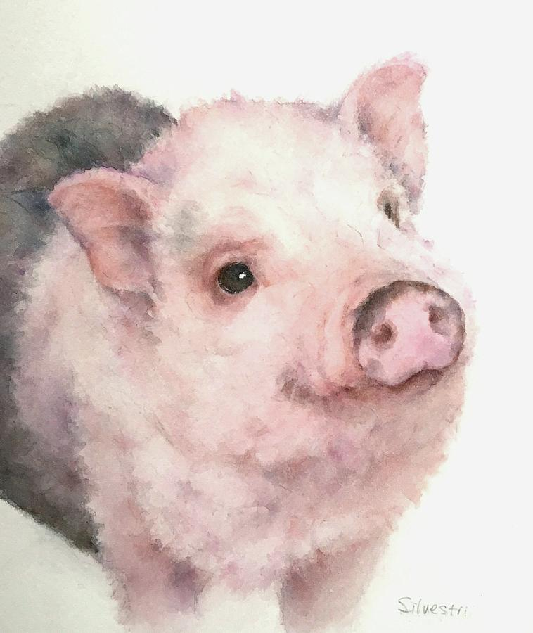 Watercolor Painting Of Piglet Pig Wall Art Baby Animal T