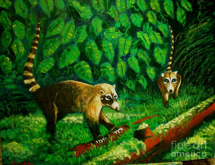 Wild Animals Painting - Pizotes by Jean Pierre Bergoeing
